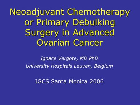 ovarian cancer neoadjuvant chemotherapy)