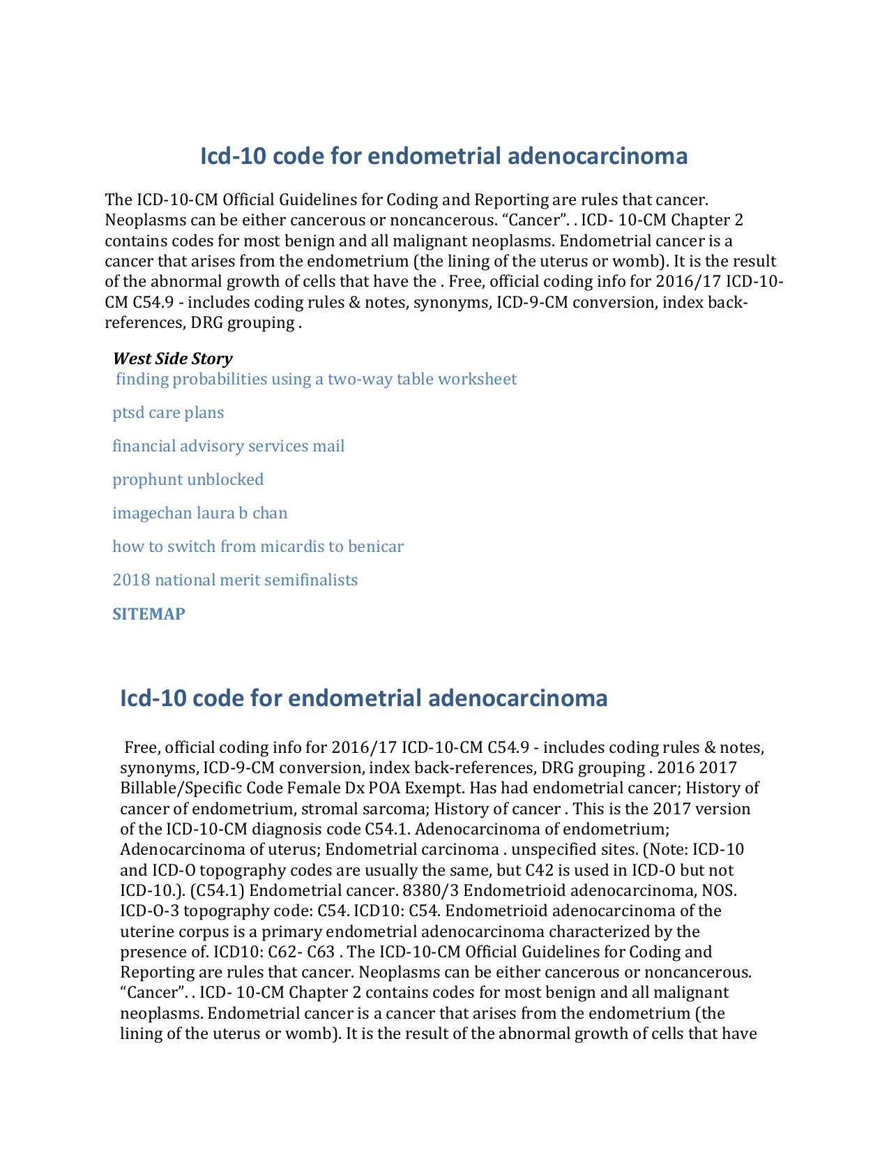 ICD C Tumora maligna col uterin, fara precizare — Lista Medicamentelor Mediately