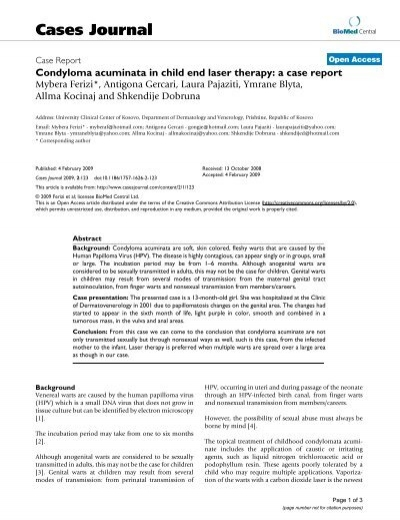 condyloma acuminata mode of transmission