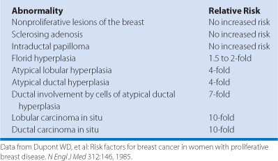 breast papilloma and cancer risk