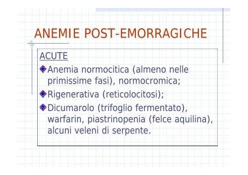 classificazione anemie 4 gruppi)