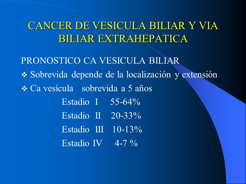cancer vesicula biliar pronostico