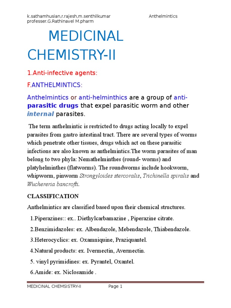 anthelmintic agents synthesis)