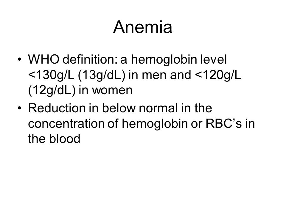 anemia who definition