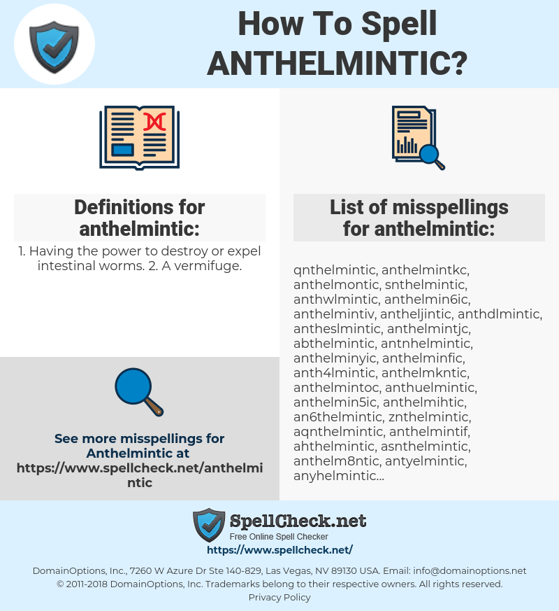anthelmintic property meaning)