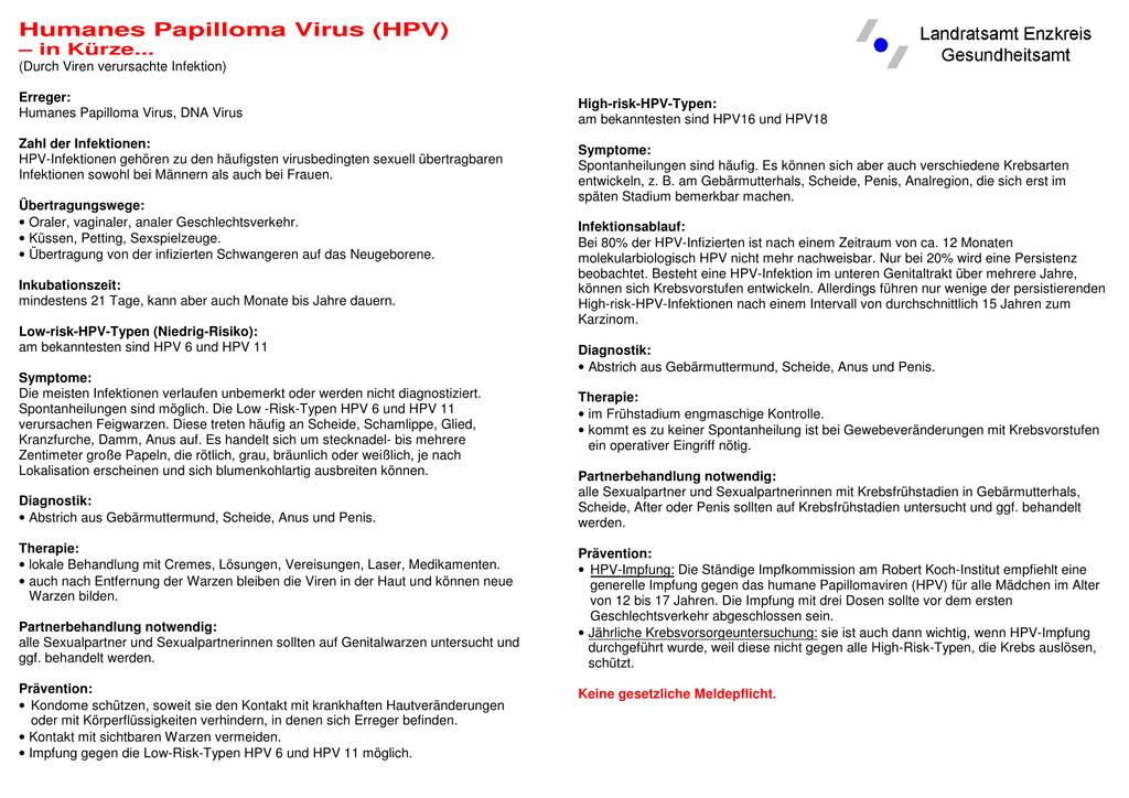 hpv virus inkubationszeit