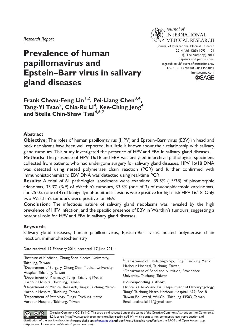 human papillomavirus saliva)