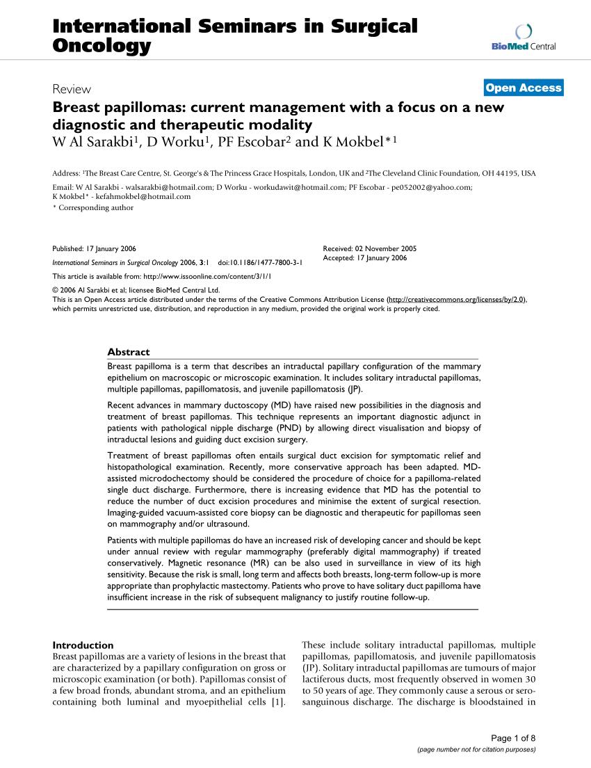intraductal papilloma and papillomatosis