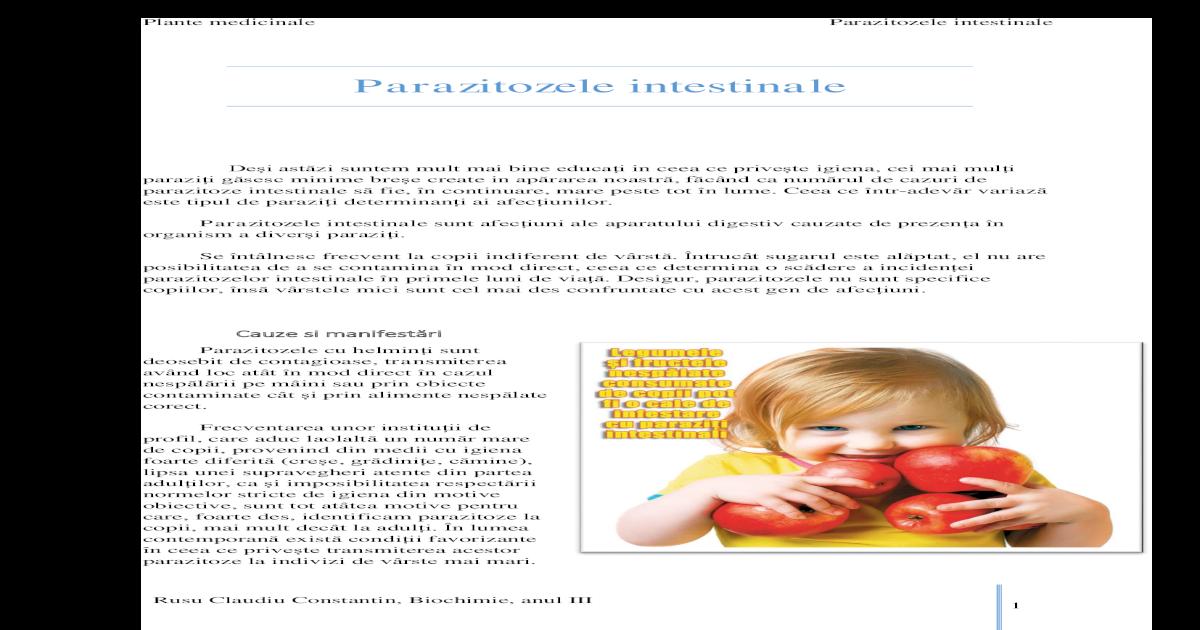 parazitozele frecvente la copii)