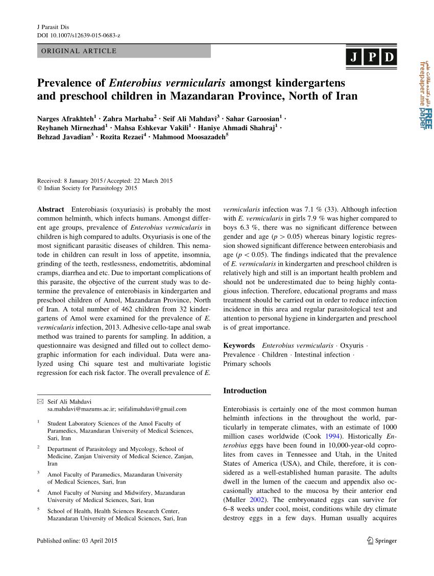 enterobius vermicularis article