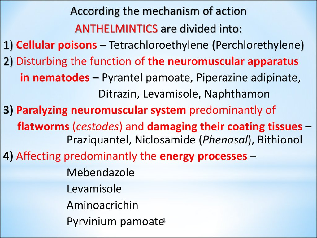 anthelmintic drugs mechanism