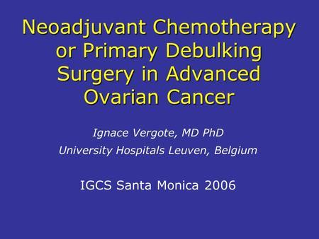 ovarian cancer neoadjuvant chemotherapy)