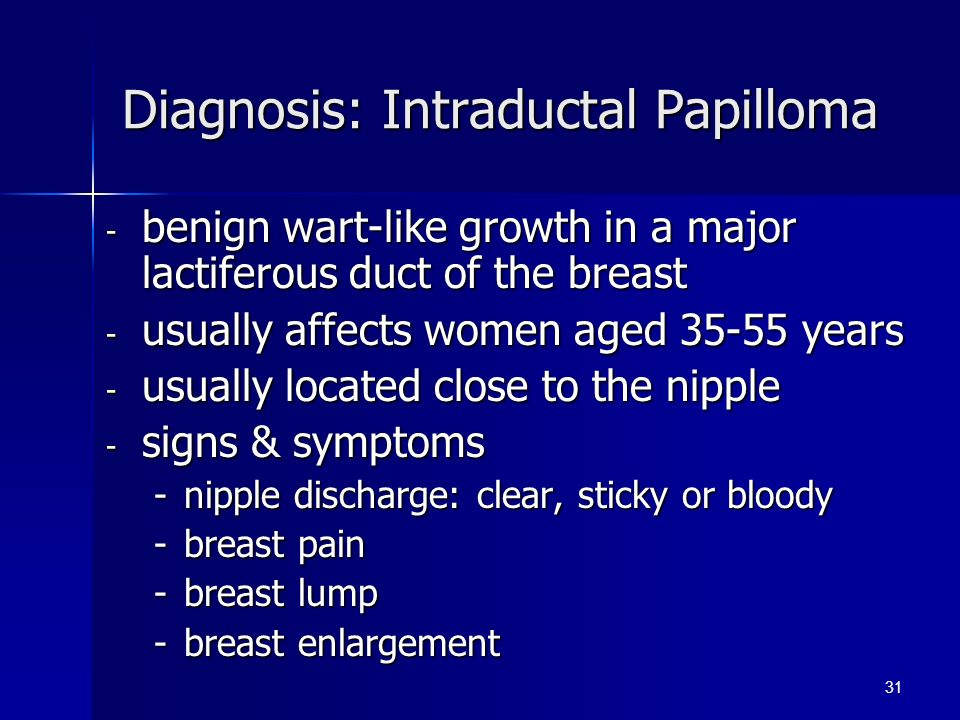 intraductal papilloma etiology)
