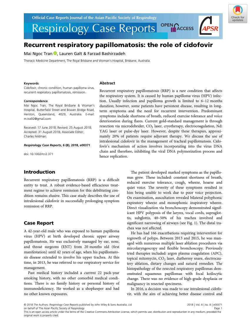 recurrent respiratory papillomatosis burden)