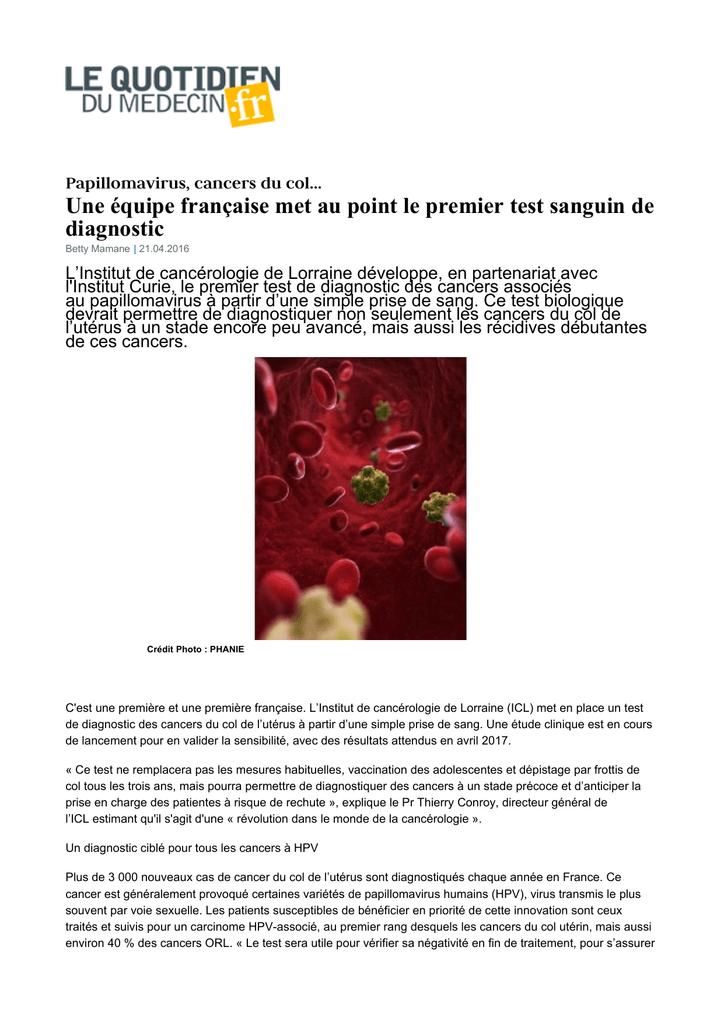 papillomavirus test sanguin sarcoma cancer center santa monica