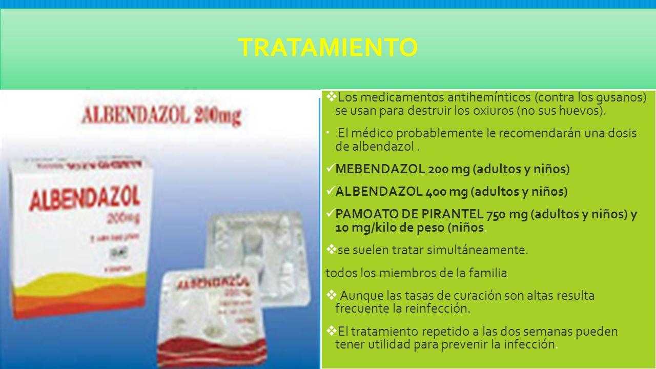 albendazol para tratamiento de oxiuros