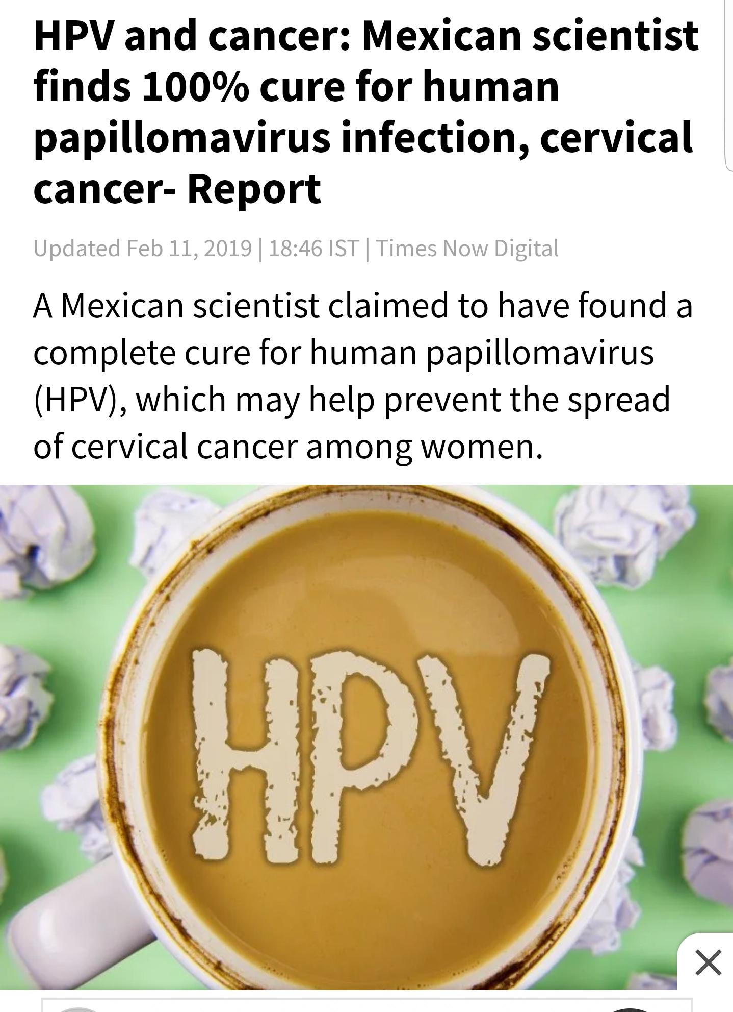 human papillomavirus curable)