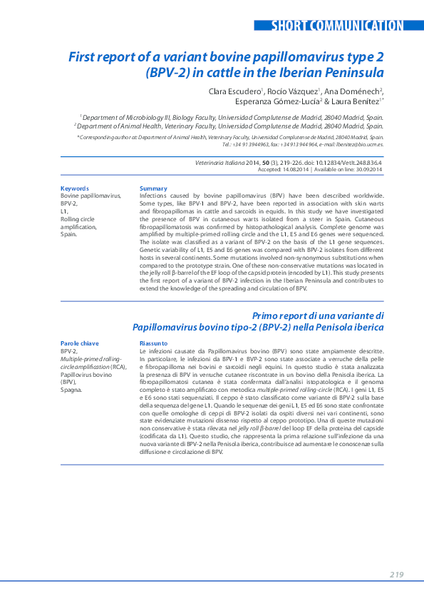 papillomaviridae en bovinos)
