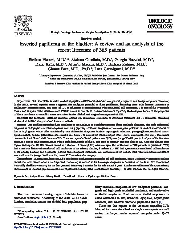 papilloma upper urinary tract detoxifiere alcool