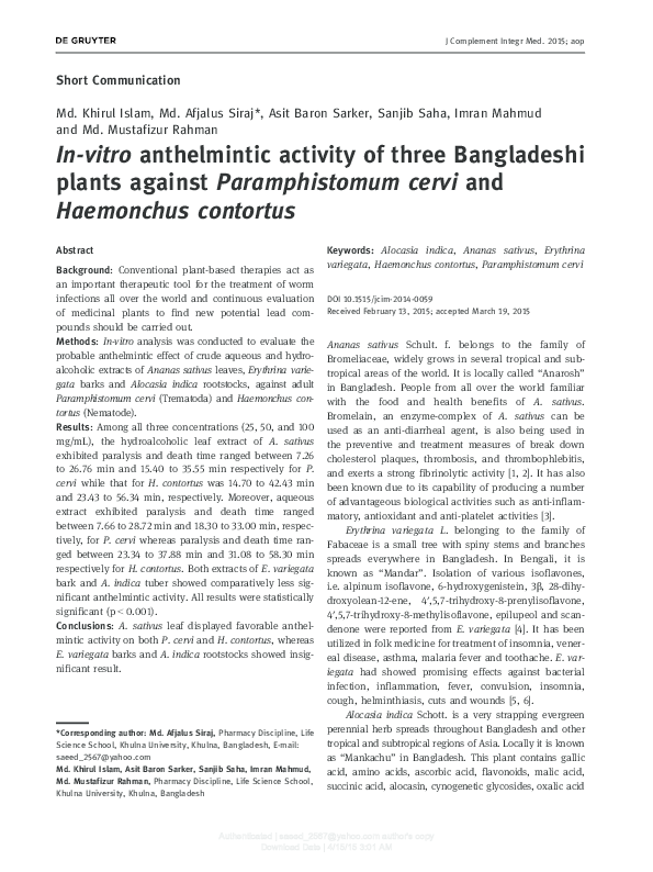 anthelmintic activity of plants)