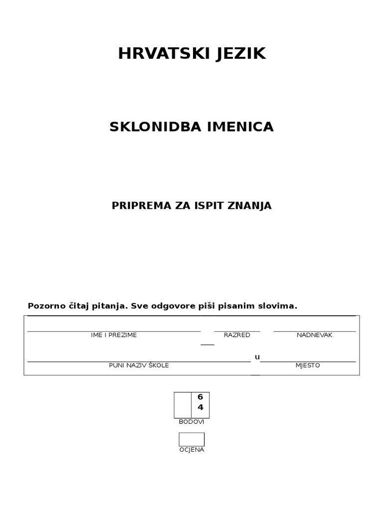 padezi srpski jezik 5 razred test