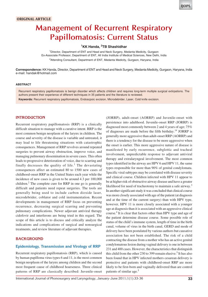 recurrent respiratory papillomatosis burden